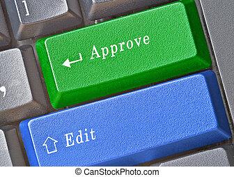 teclas, aprovação, editando, teclado