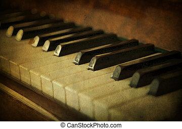 teclas, branca, piano preto