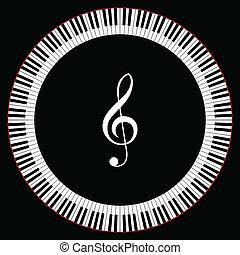 teclas, círculo, piano