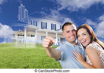 teclas, casa, par, ghosted, atrás de, segurando, militar, desenho