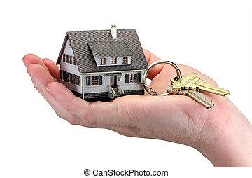 teclas, casa, segurando mão