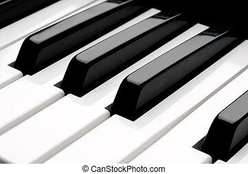 teclas, cima, teclado, fim, horizontais, piano