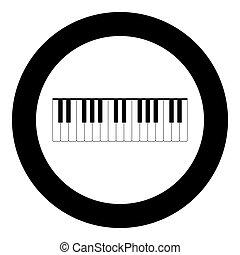 teclas, cor, piano preto, círculo, ícone