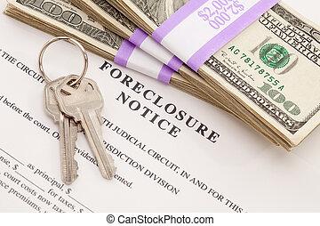 teclas de casa, pila de dinero, y, ejecución hipoteca, aviso