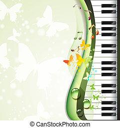 teclas de piano, con, mariposas