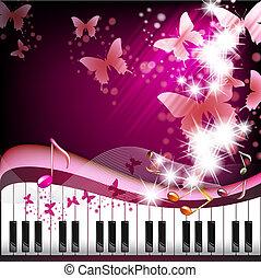 teclas de piano, mariposas