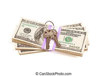 teclas, dinheiro, pilha, isolado, casa
