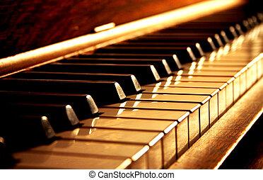 teclas, dourado, piano