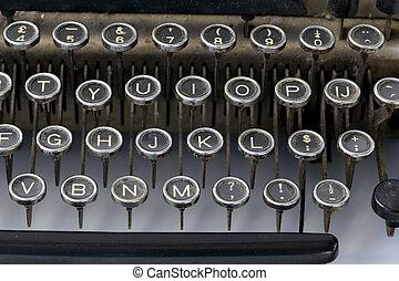 teclas, fashioned velho, máquina escrever