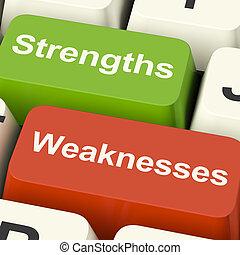 teclas, fraquezas, computador, analisando, desempenho,...