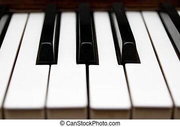 teclas, instrumento, piano, musical