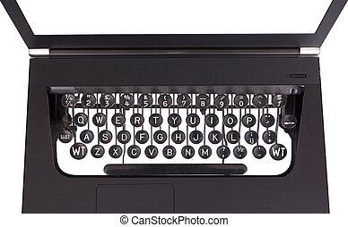teclas, laptop, fashioned velho, máquina escrever