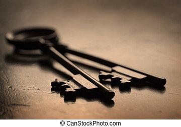 teclas, ligado, madeira, superfície, destrancar