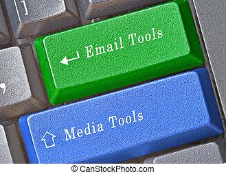 teclas, marketing, acesso, ferramentas