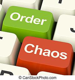 teclas, mostrando, caos organizado, ordem, desorganizado,...