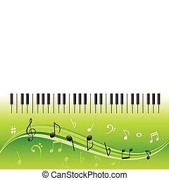 teclas, notas, música, piano