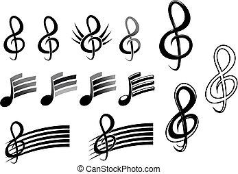 teclas, notas, música