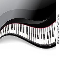 teclas, ondulado, fundo, piano grande, branca