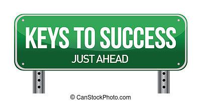 teclas, para, sucesso