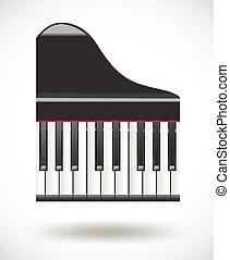 teclas, piano, ícone, branca, grandioso