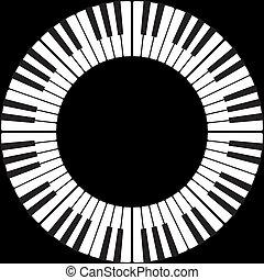 teclas, piano, círculo