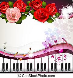 teclas piano, com, rosas