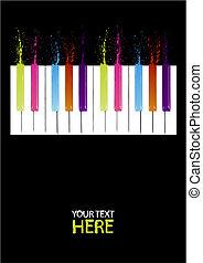 teclas, piano, espectro