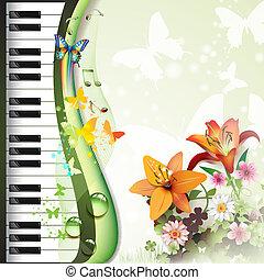 teclas, piano, lírios