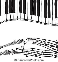 teclas, piano, notas música