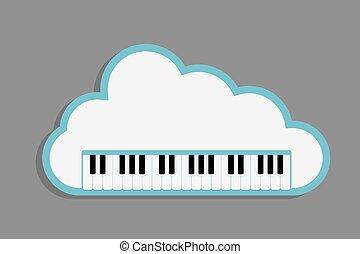 teclas, piano, nuvem