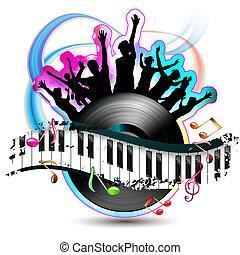teclas, piano, silhuetas, dançar