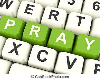 teclas, rezar, mostrando, religião, computador, adoração