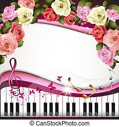 teclas, rosas, piano