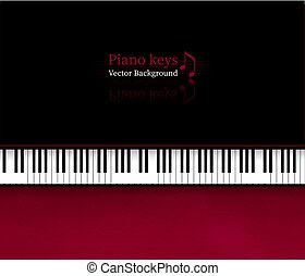 teclas, topo, piano, fundo, vista
