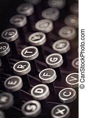 teclas, vindima, grunge, efeitos, máquina escrever