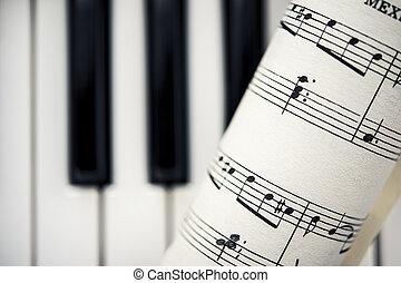 teclas, vindima, piano, música folha