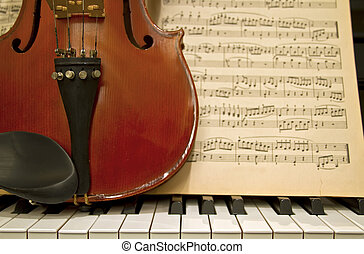 teclas, violino, piano, música, folhas
