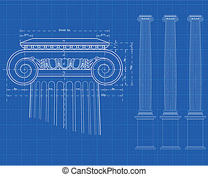 tecnic ionic column - detail of ionic column with measures...