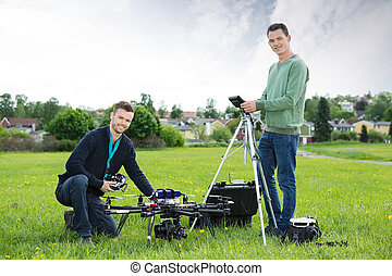 tecnici, lavorando, uav, elicottero