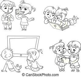 tecnico, coloritura, progress., libro, bambini