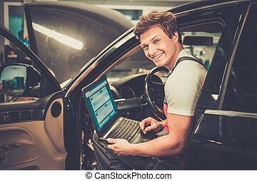 tecnico di assistenza, automobile, laptop, officina, ...