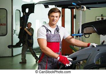 tecnico di assistenza, bodykit, automobile, officina, pronto...
