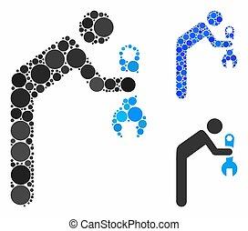 tecnico di assistenza, cerchio, punti, mosaico, icona