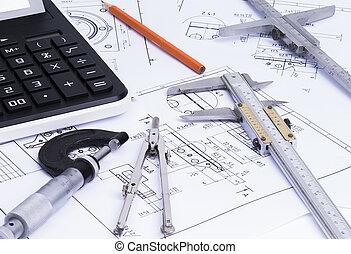 tecnico, disegnare, attrezzi,  engineerung