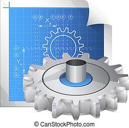 tecnico, -, disegno, illustrazione