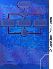 tecnico, fondale, con, cianografia, scheda circuito