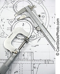 tecnico, ingegneria, attrezzi, disegno
