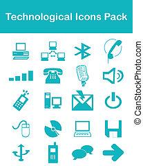 tecnológico, ícones, pacote