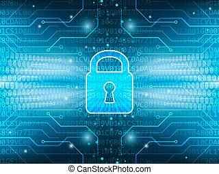tecnológico, tábua, e, fechadura, ligado, global, segurança,...