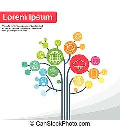 tecnología, árbol, social, medios, iconos, línea fina,...